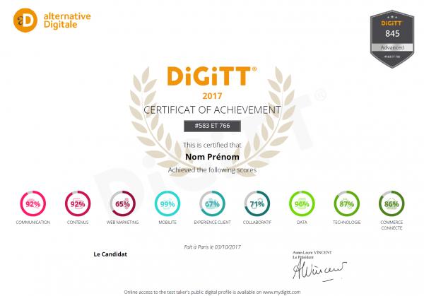 Attestation d'obtention du certificat DiGiTT