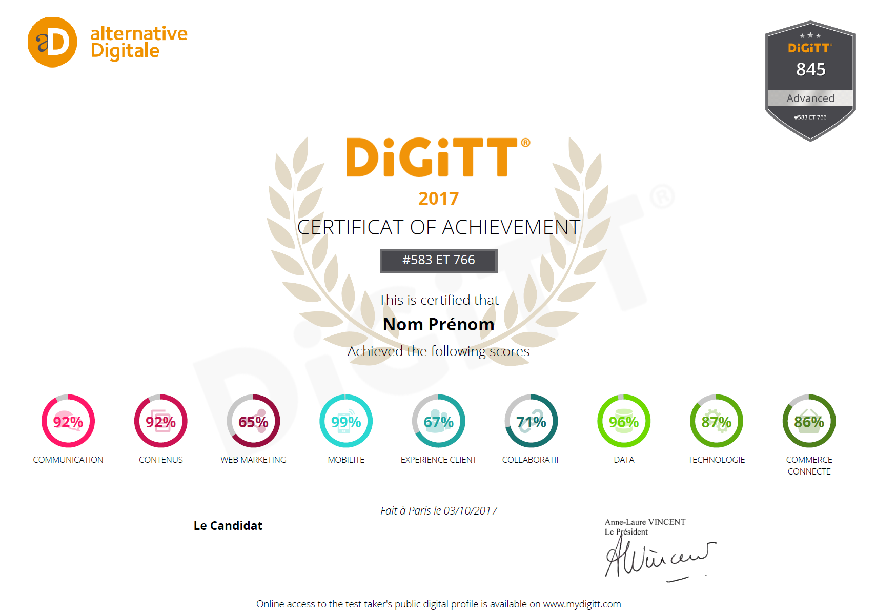 Attestation d'obtention du certificat DiGiTT