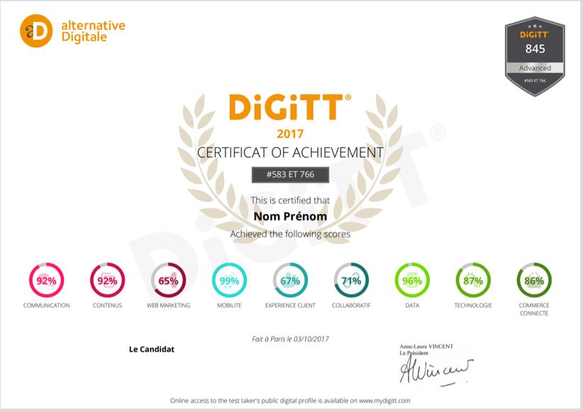 Présenter le certificat DiGiTT